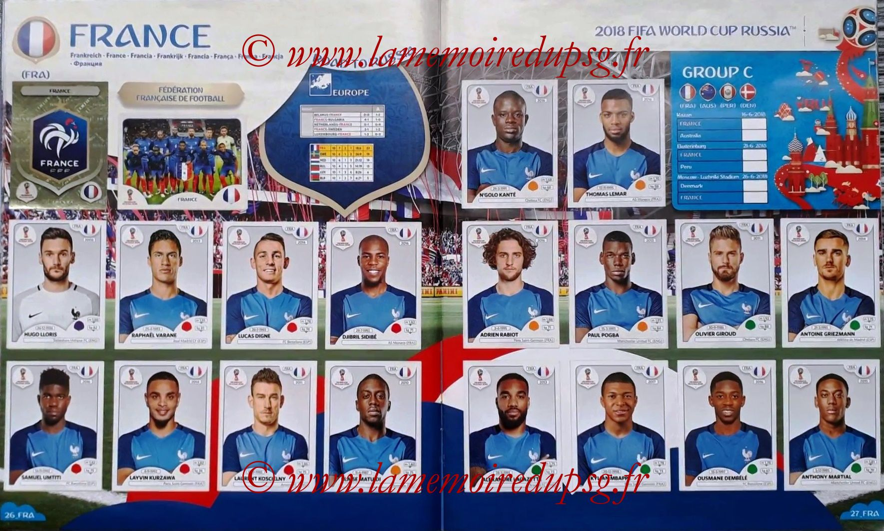 2018 - Panini FIFA World Cup Russia Stickers - Pages 26 et 27 - France