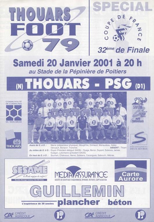 2001-01-20  Thouars-PSG (32ème CF à Poitiers, Programme officiel)