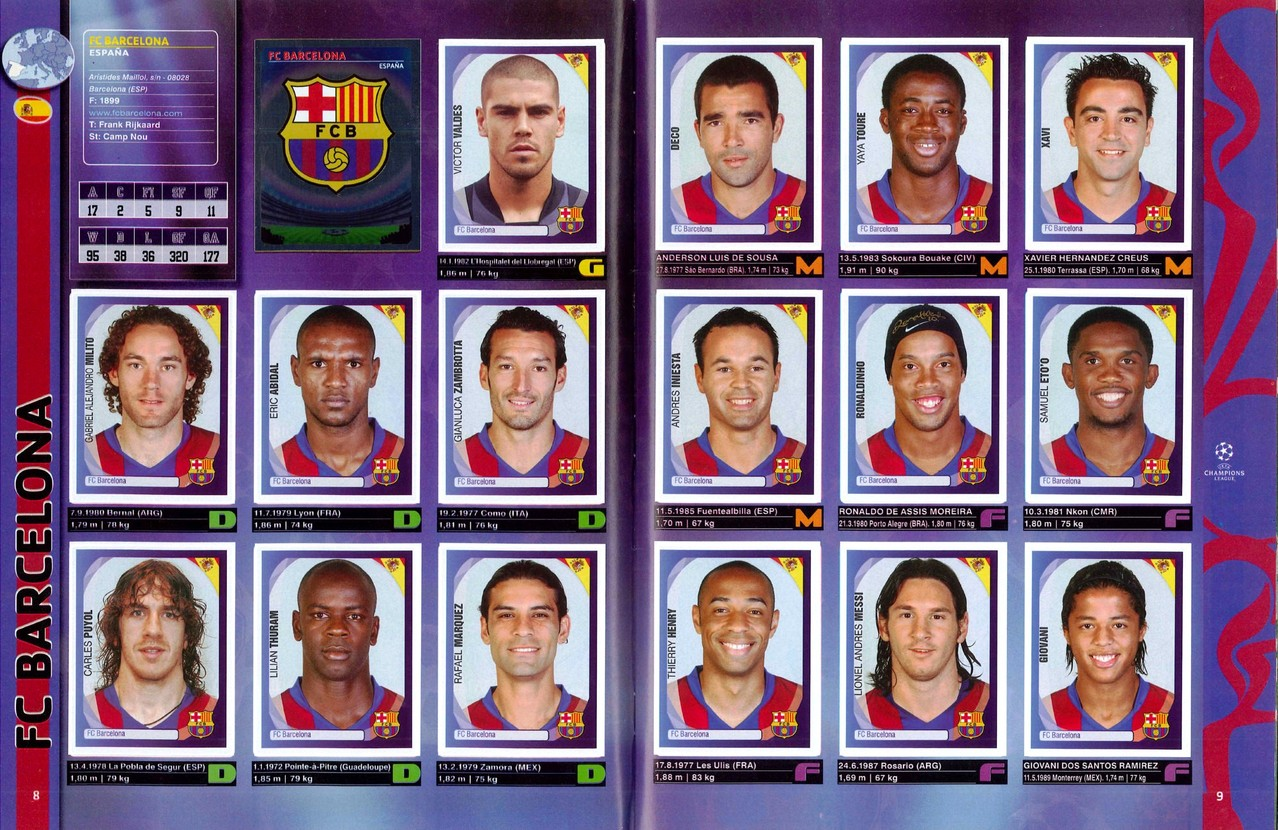 2007-08 - Panini Champions League - Pages 08 et 09 - FC Barcelone