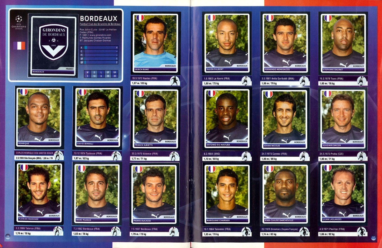 2006-07 - Panini Champions League - Pages 36 et 37 - Girondins de Bordeaux