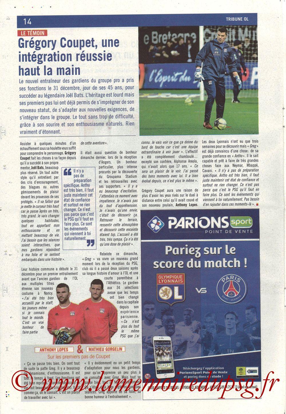 2018-01-21  Lyon-PSG (22ème L1, La Tribune OL N° 244) - Page 14