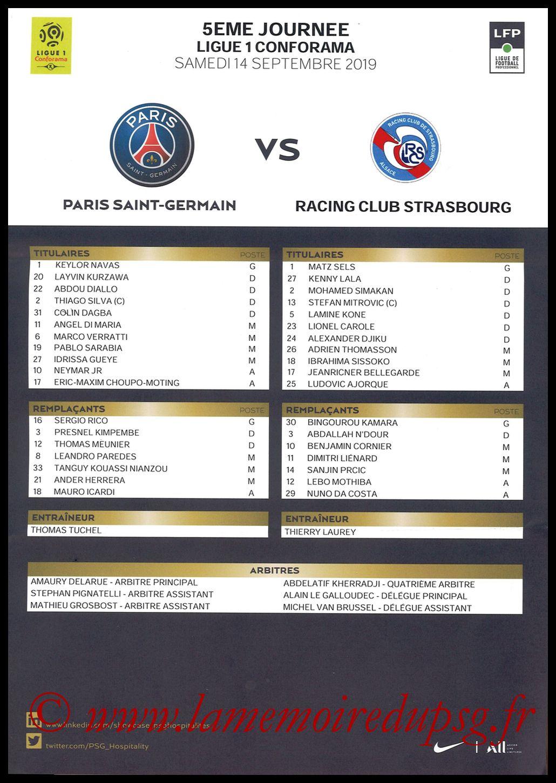 2019-09-15  PSG-Strasbourg (5ème L1, Feuille de match)