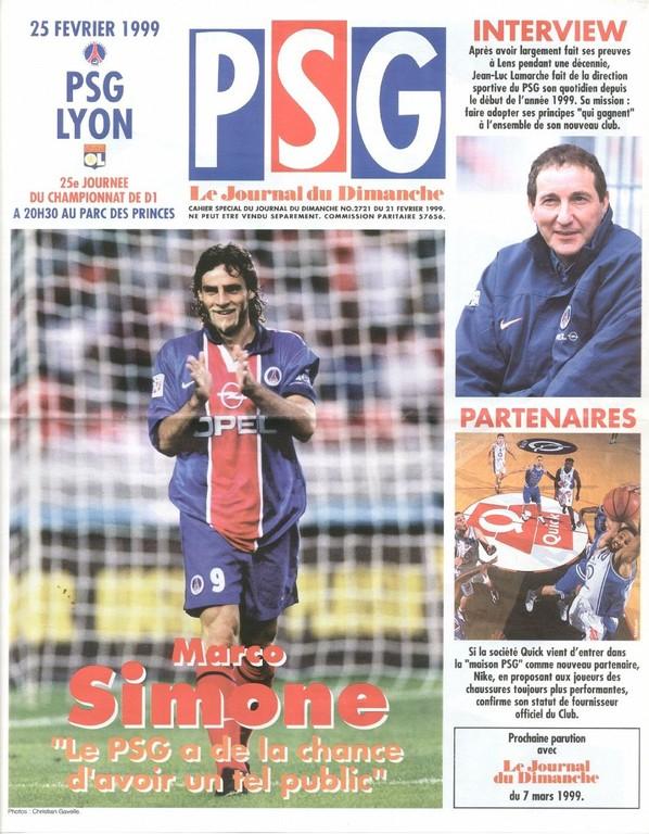 1999-02-25  PSG-Lyon (25ème D1, Le Journal du PSG N°70)