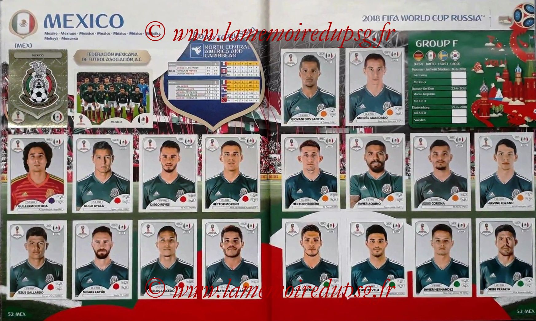 2018 - Panini FIFA World Cup Russia Stickers - Pages 52 et 53 - Mexique