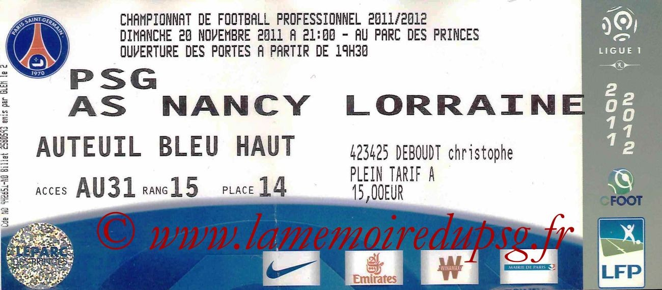 Ticket  PSG-Nancy  2011-12