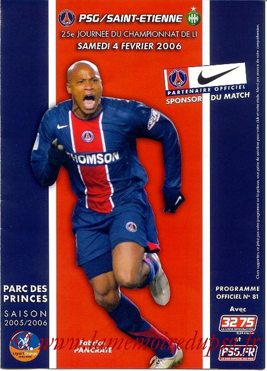 2006-02-04  PSG-Saint Etienne  (25ème L1, Officiel N°81)
