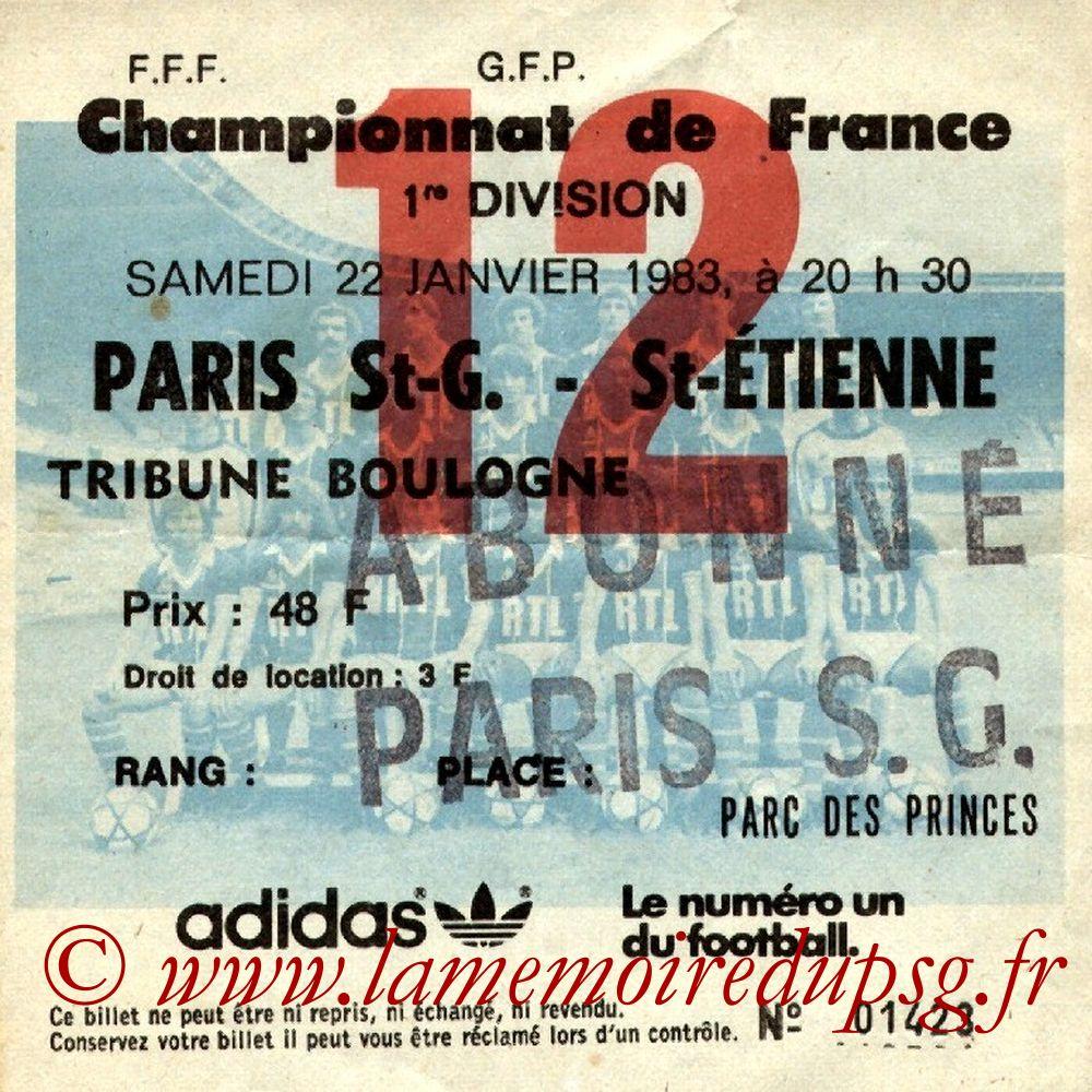 1983-01-22  PSG-Saint Etienne (22ème D1, Ticket N°12)