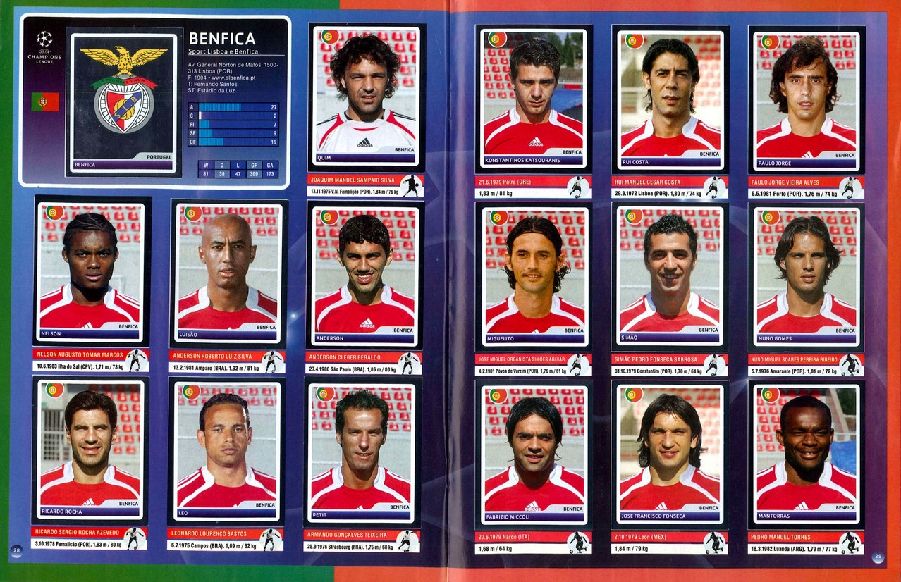 2006-07 - Panini Champions League - Pages 28 et 29 - SL Benfica