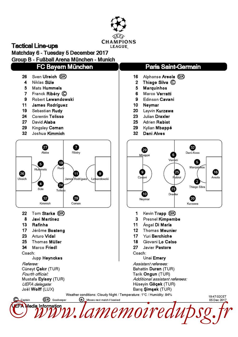 2017-12-05  Bayern-PSG (6ème C1, Feuille de match UEFA)