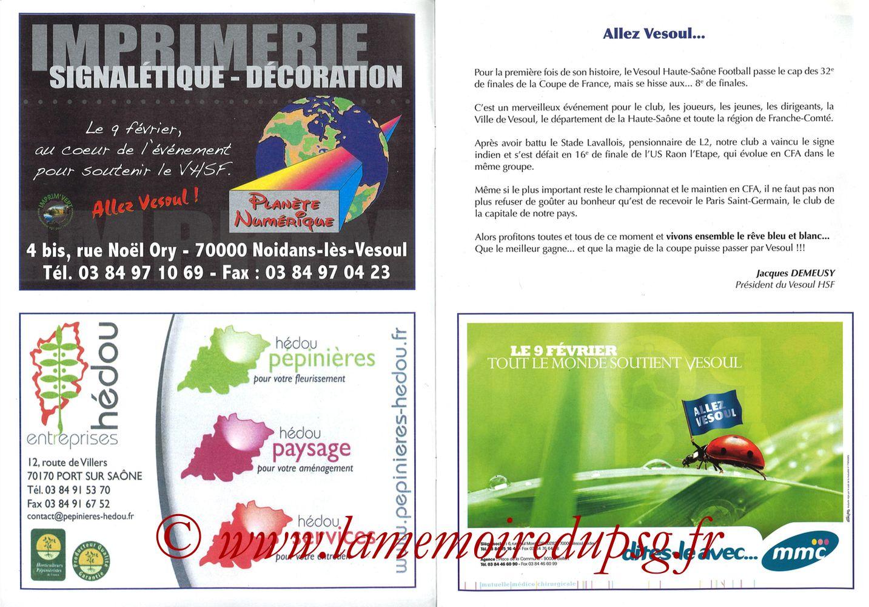 2010-02-09  Vesoul-PSG (8ème CF, Programme officiel) - Pages 02 et 03