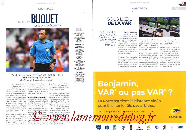 2019-04-27  Rennes-PSG (Finale CF au Stade de France, Programme officiel FFF) - Pages 20 et 21