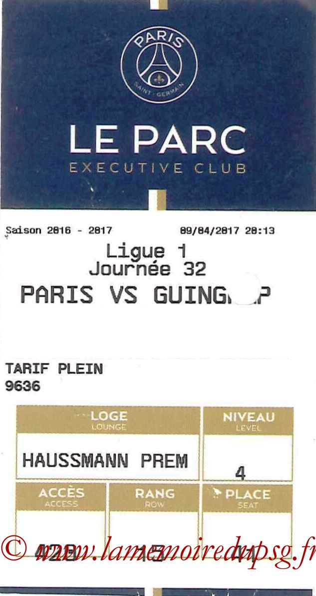 2017-04-09  PSG-Guingamp (32ème L1, E-ticket Executive club)