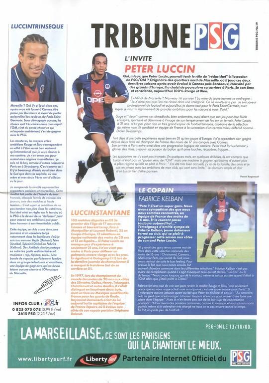 2000-10-13  PSG-Marseille (11ème D1, Tribune PSG N°19)
