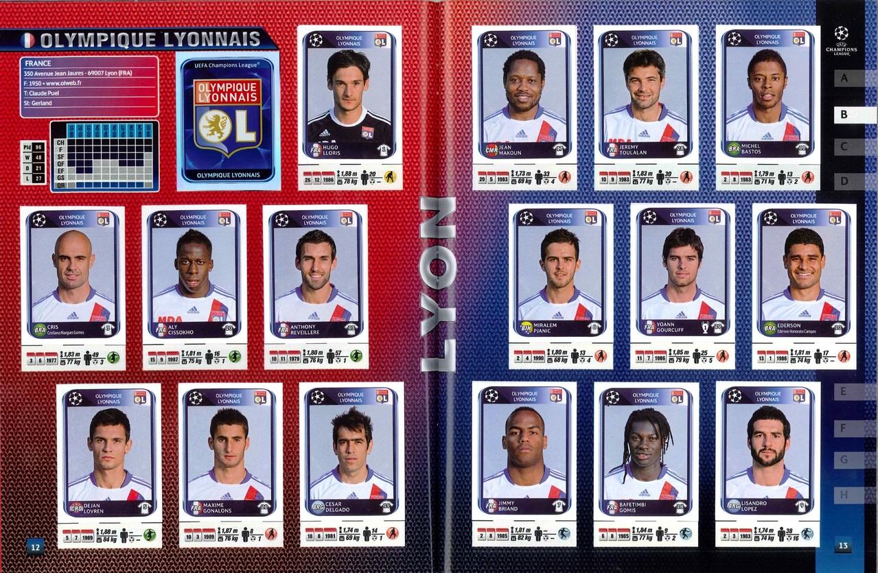 2010-11 - Panini Champions League - Pages 12 et 13 - Olympique Lyonnais