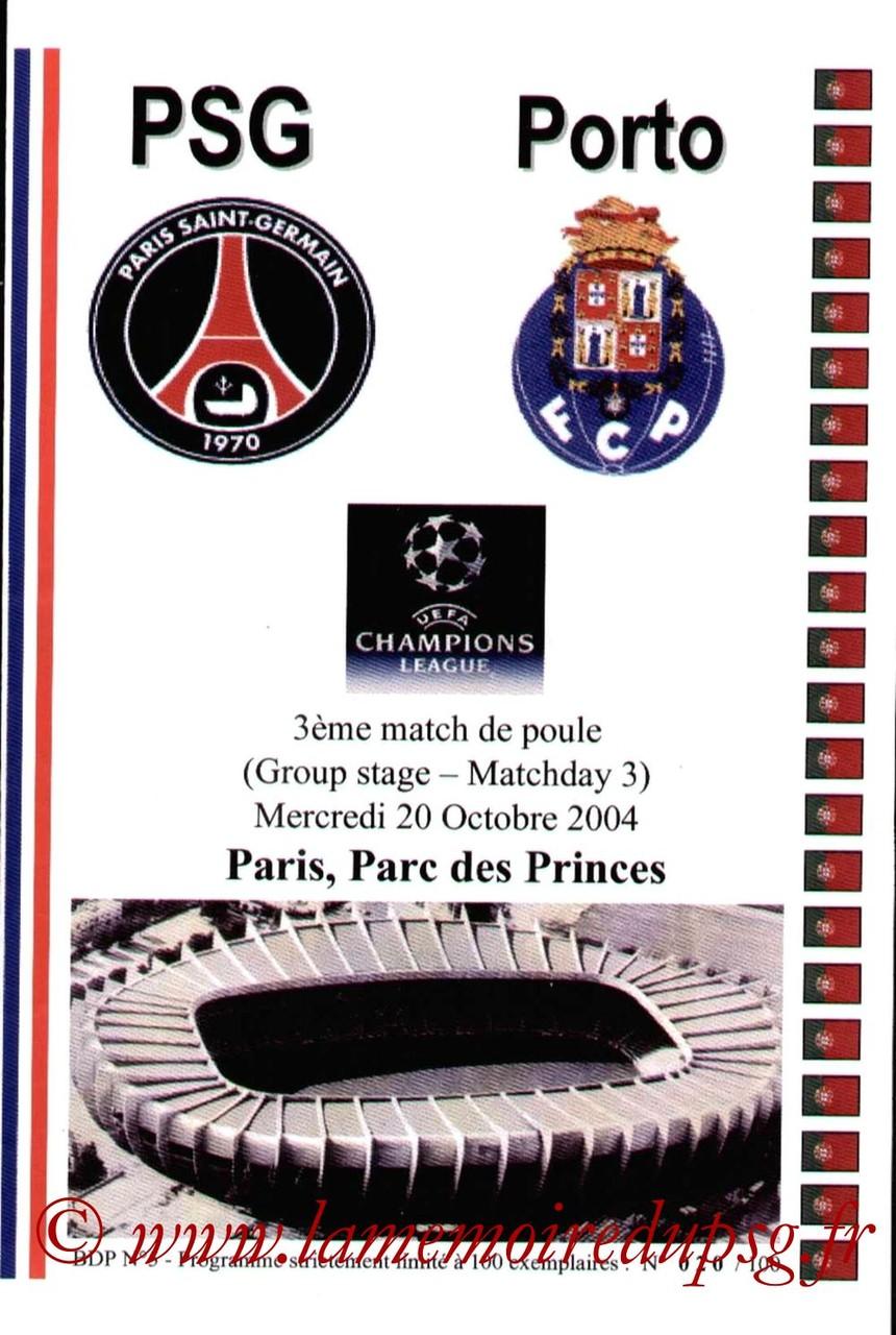 2004-10-20  PSG-Porto (3ème Poule C1, Pirate JNT)