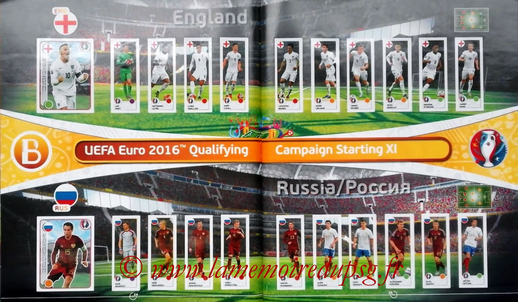 Panini Euro 2016 Stickers - Pages 24 et 25 - Angletterre et Russie