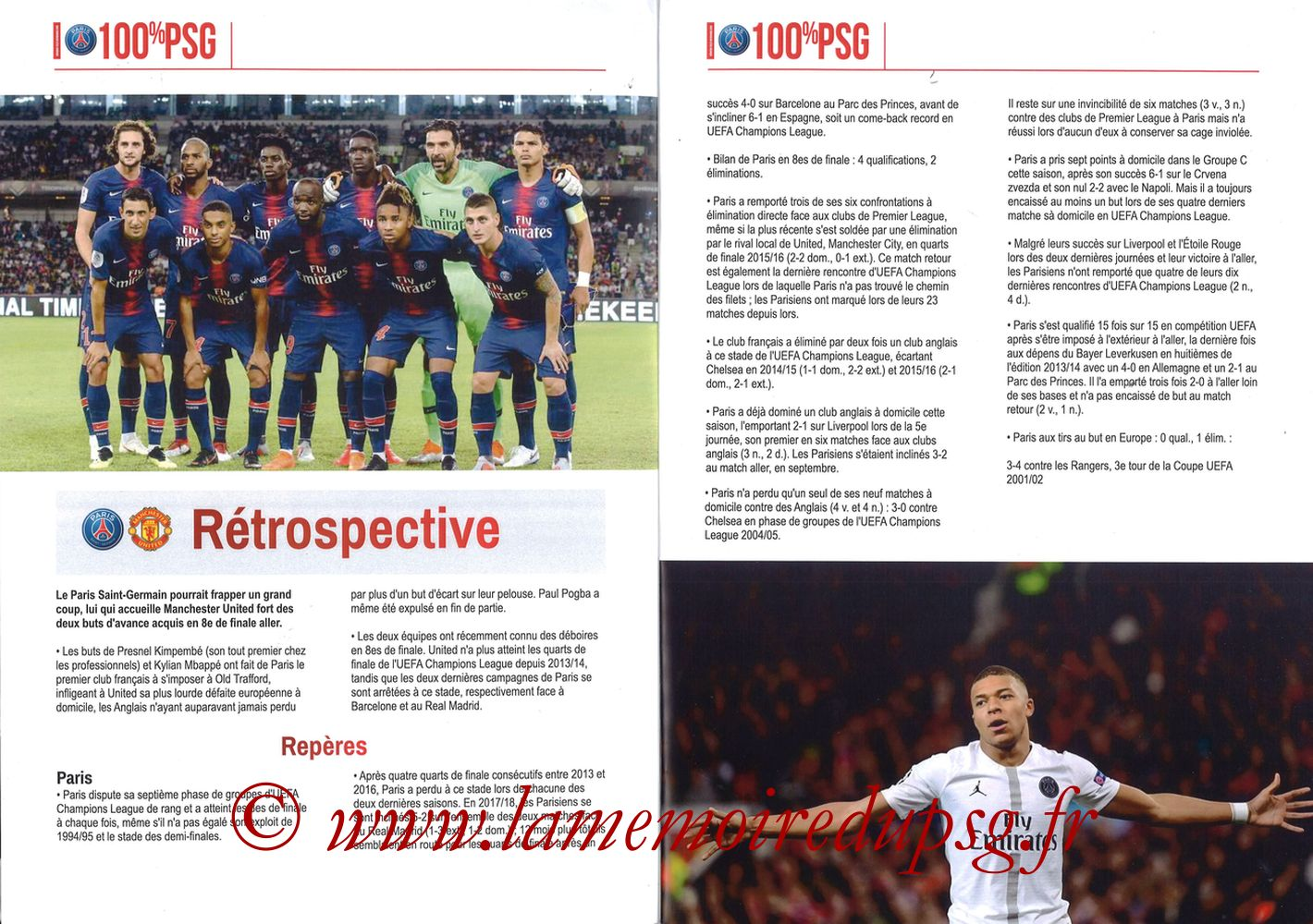 2019-03-06  PSG-Manchester United (8ème Retour C1, 100% PSG N° 181) - Pages 02 et 03