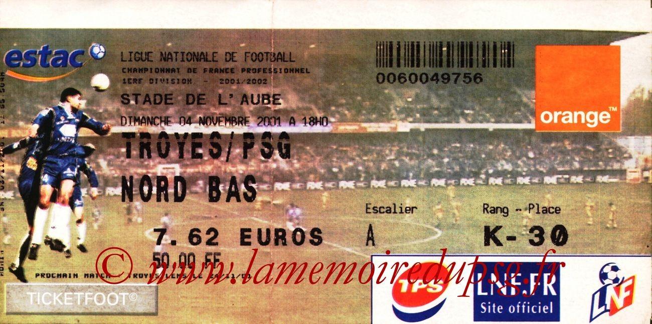 2001-11-04  Troyes-PSG (13ème D1)