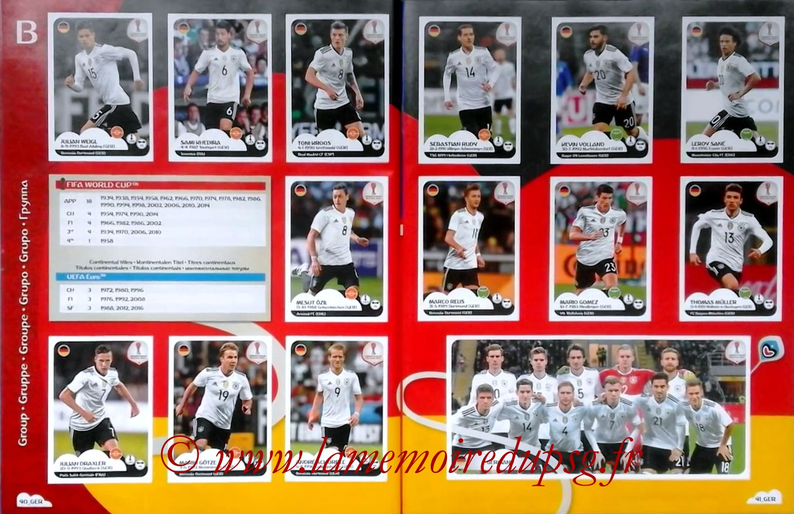 2017 - Panini Confederations Cup Russia Stickers - Pages 40 et 41 - Allemagne