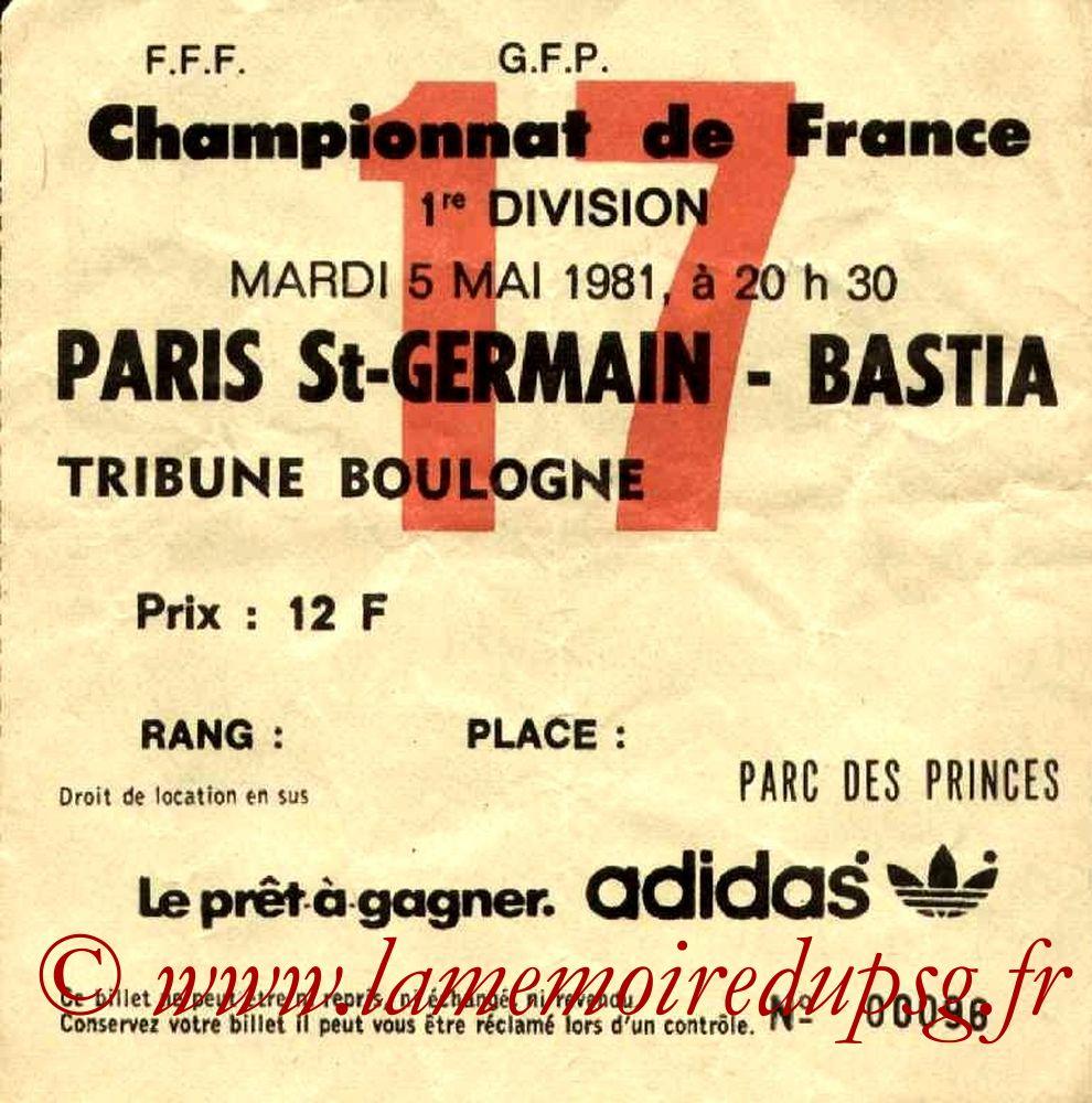 1981-05-05  PSG-Bastia (34ème D1, Ticket N°17)
