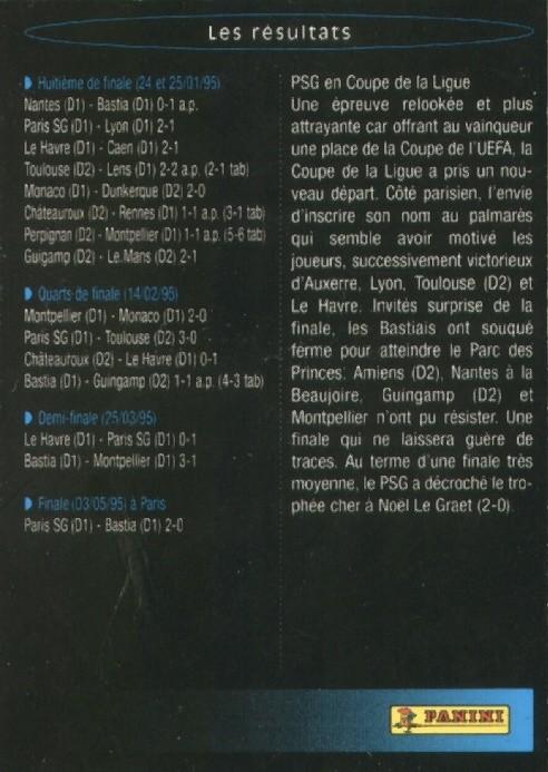 N° S09 - Parcours en Coupe de la Ligue 94-95 (Verso)
