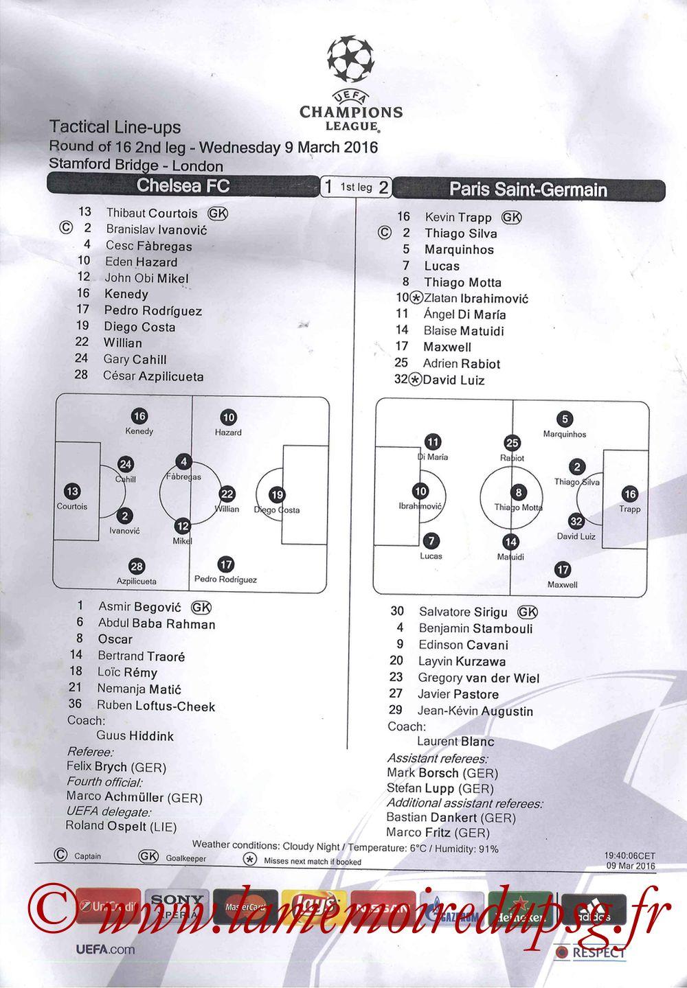 2016-03-09  Chelsea-PSG (8ème retour C1, Feuille de match)