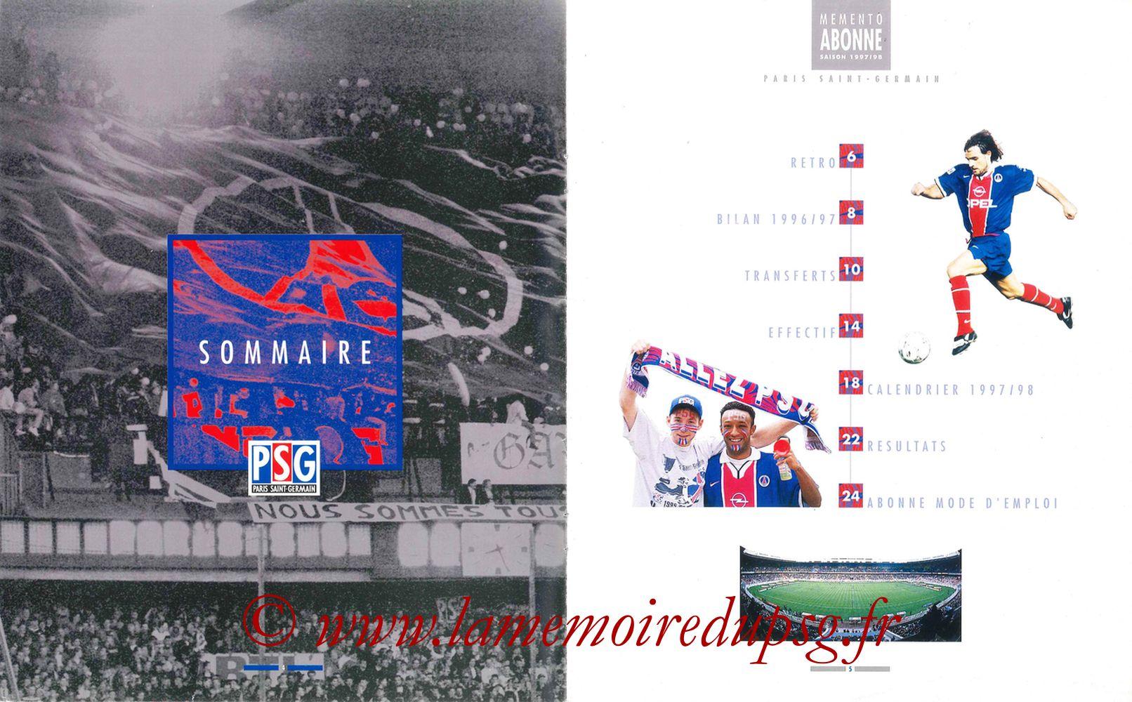 1997-98 - Guide de la Saison PSG - Pages 04 et 05