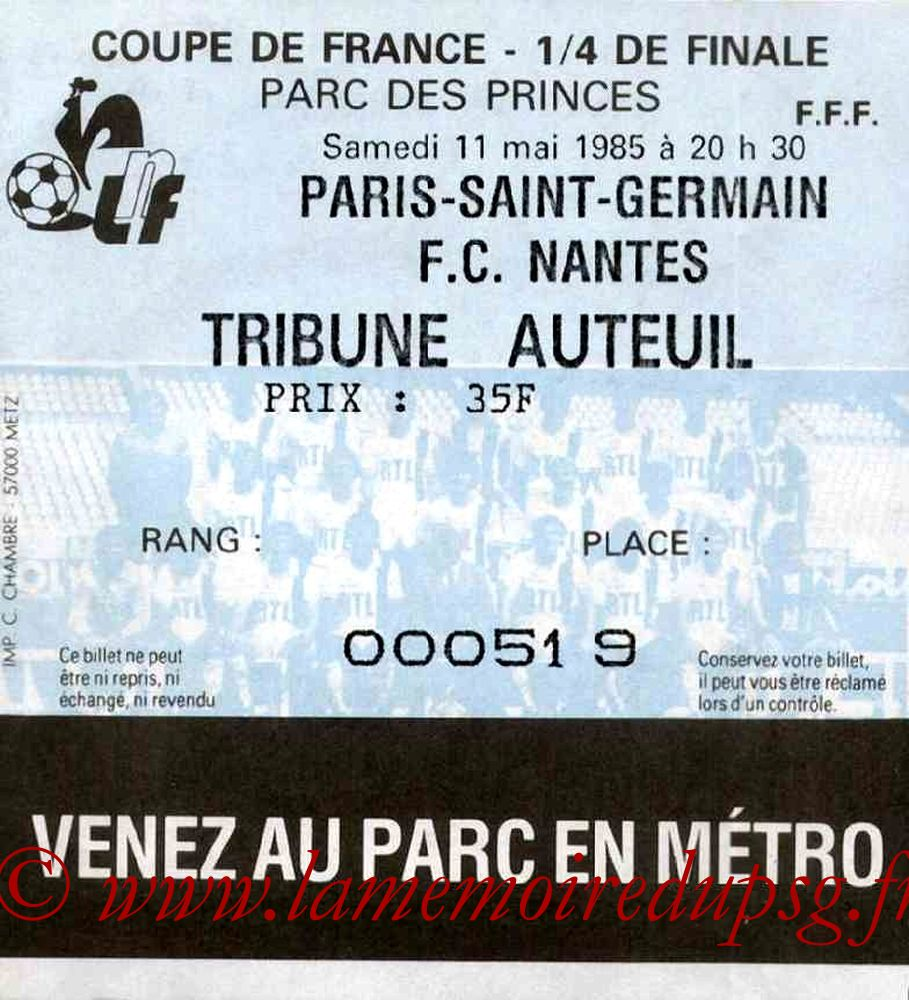 Ticket  PSG-Nantes  1984-85