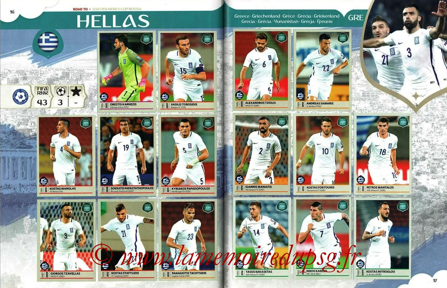 2018 - Panini Road to FIFA World Cup Russia Stickers - Pages 16 et 17 - Grêce