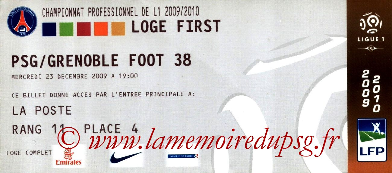 2009-12-23  PSG-Grenoble (19ème L1, Loge first)
