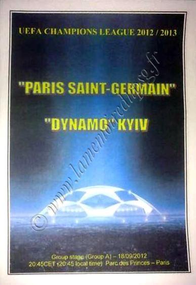 2012-09-18  PSG-Dynamo Kiev (1ère Journée Poule C1, Programme pirate édition Ukraine)