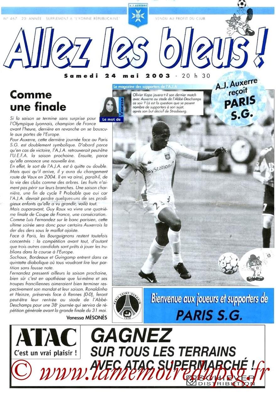 2003-05-24  Auxerre-PSG (38ème D1, Allez les Bleus N°467)