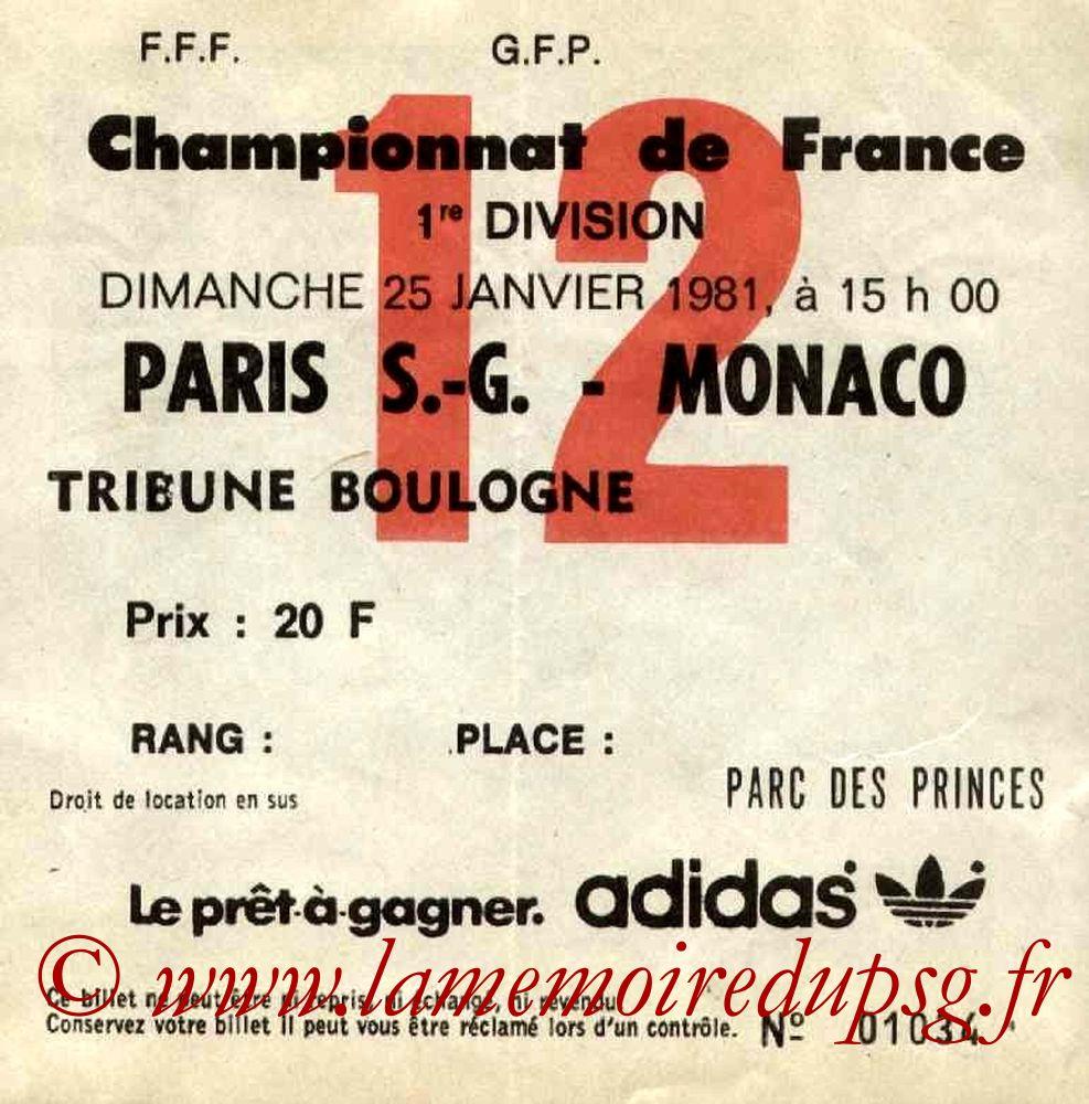 1981-01-25  PSG-Monaco (24ème D1, Ticket N°12)
