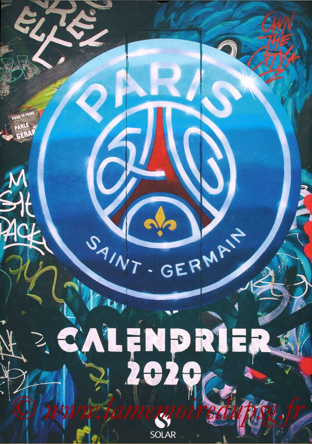 Calendrier PSG 2020 - Couverture
