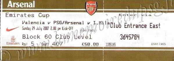 2007-07-29  PSG-FC Valence (Emirates Cup à Londres)