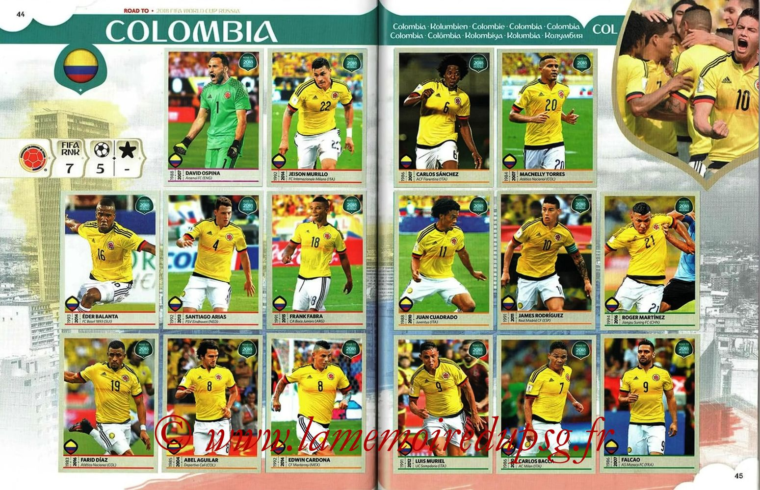 2018 - Panini Road to FIFA World Cup Russia Stickers - Pages 44 et 45 - Colombie