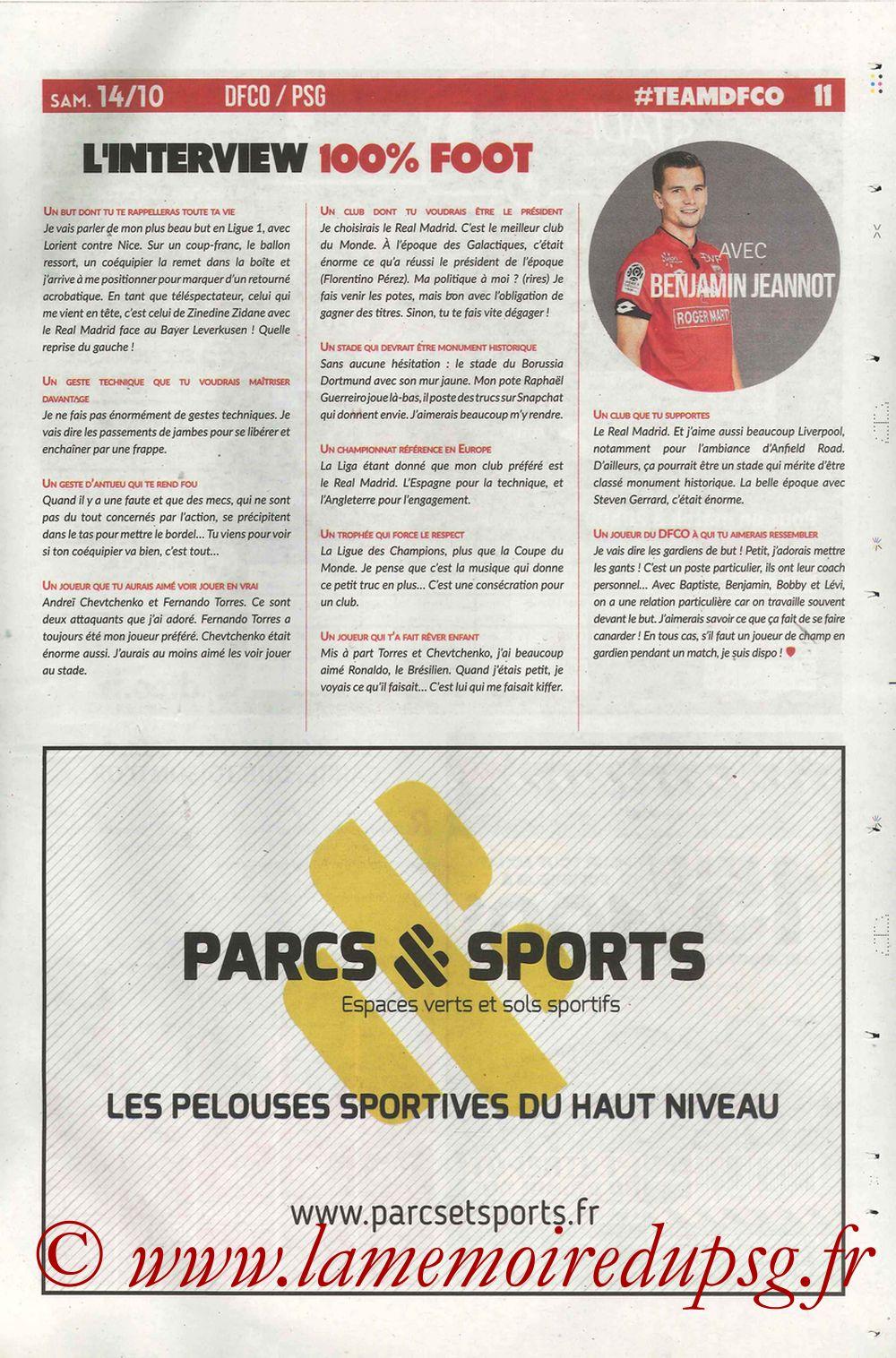 2017-10-14  Dijon-PSG (9ème L1, Chouett'Infos N°5) - Page 11