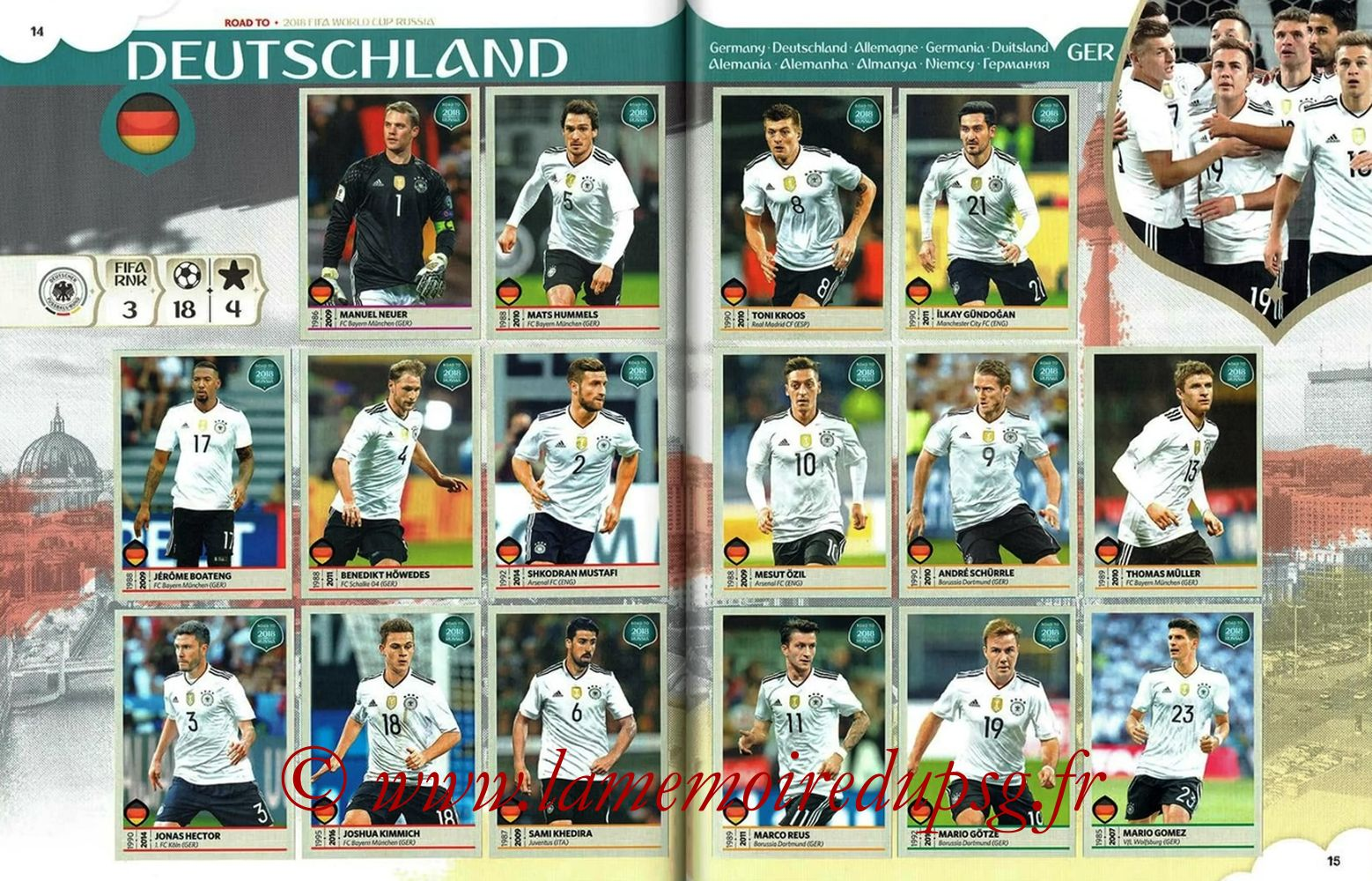 2018 - Panini Road to FIFA World Cup Russia Stickers - Pages 14 et 15 - Allemagne