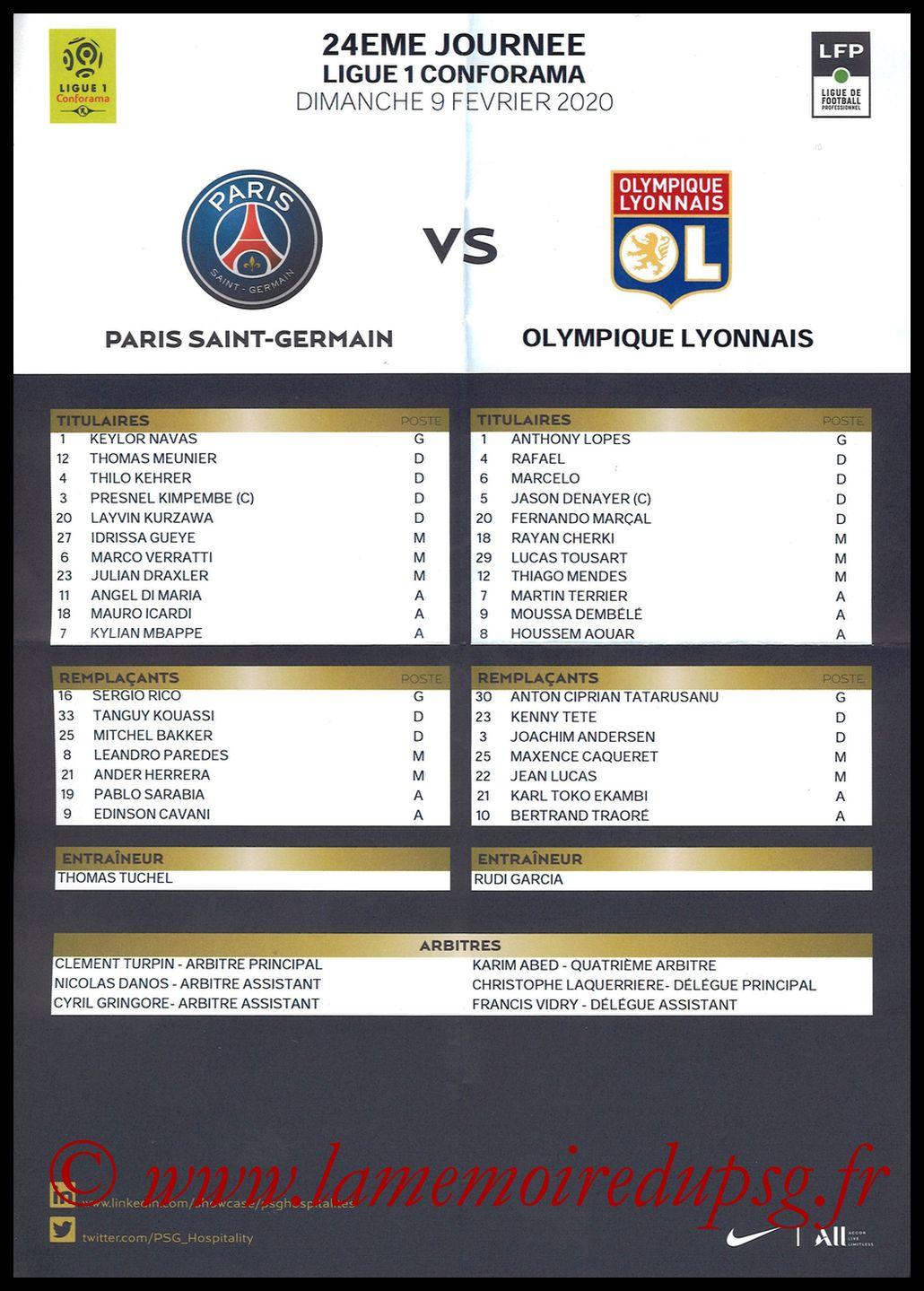 2020-02-09  PSG-Lyon (24ème L1, Feuille de match)