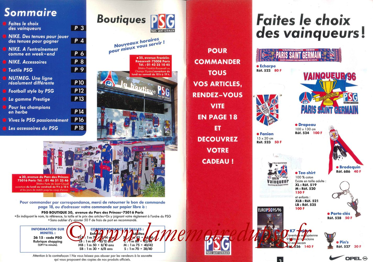 Catalogue PSG - 1996-97 - Pages 02 et 03