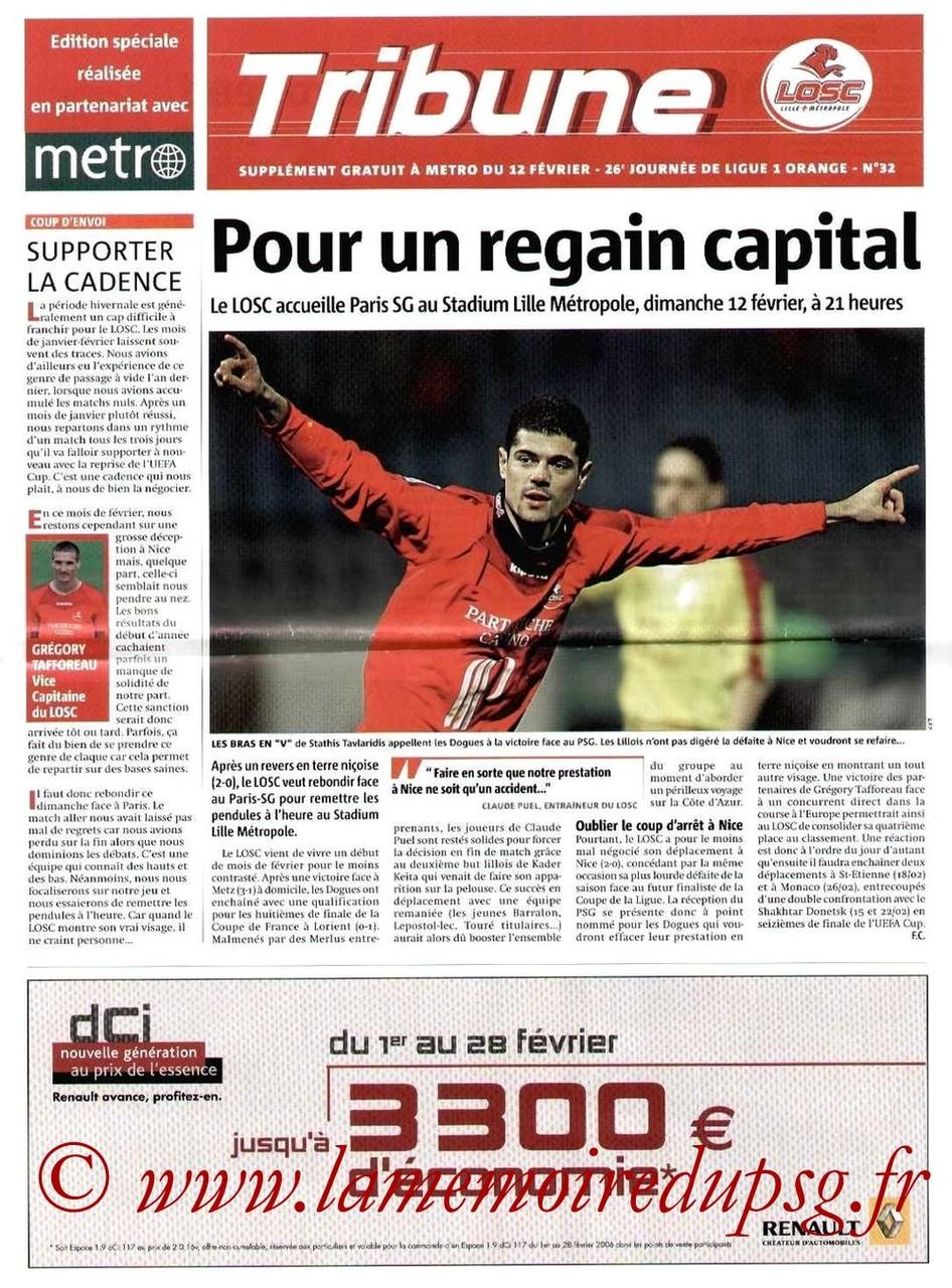 2006-02-12  Lille-PSG (26ème L1, Tribune LOSC N°32)