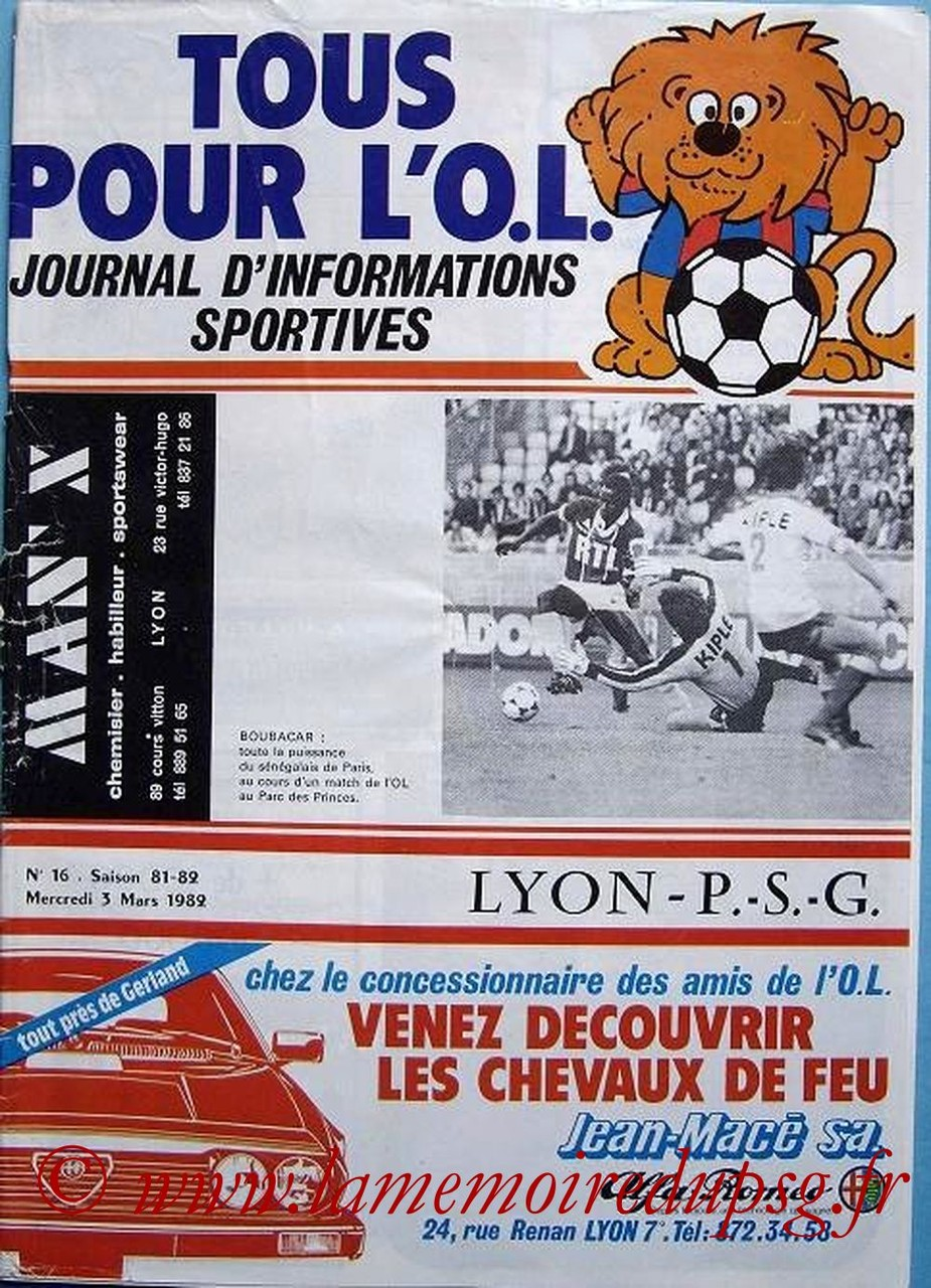 1982-03-03  Lyon-PSG (29ème D1, Tous pour l'OL N° 16)