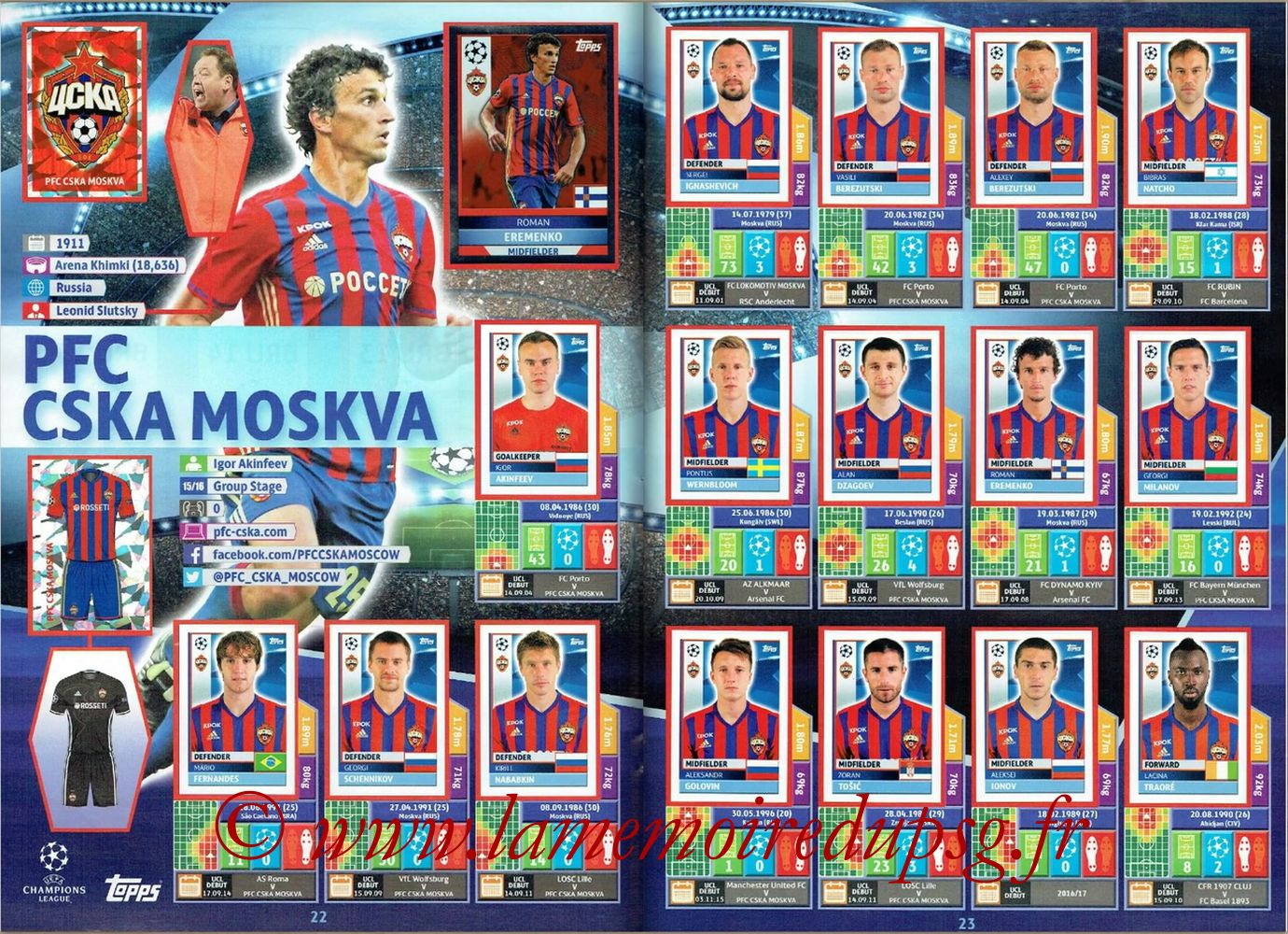 2016-17 - Topps UEFA Champions League Stickers - Pages 22 et 23 - PFC CSKA Moscou