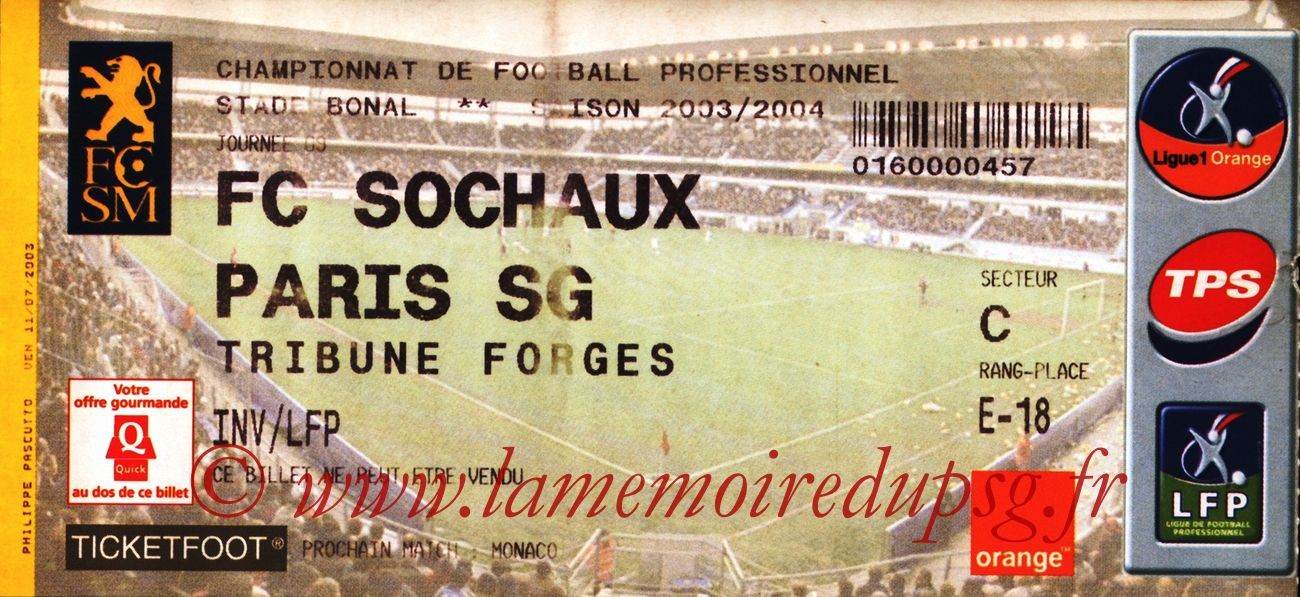 2003-10-04   Sochaux-PSG (9ème L1)