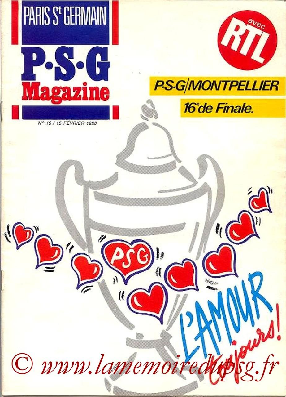 1986-02-15  PSG-Montpellier (16ème Finale Aller CF, Paris St Germain Magazine N°15)
