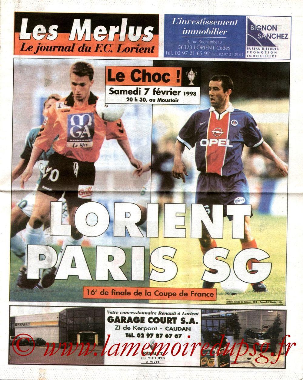 1998-02-07  Lorient-PSG (16ème Finale CF, Les Merlus)