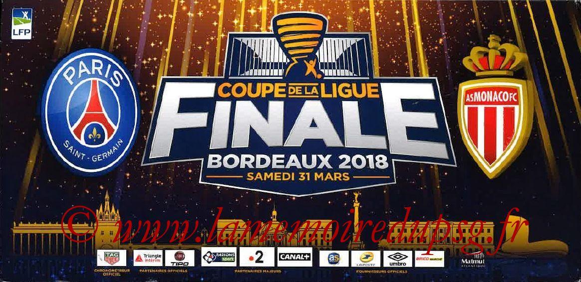 2018-03-31  PSG-Monaco (Finale CL à Bordeaux, Pochette Billet)