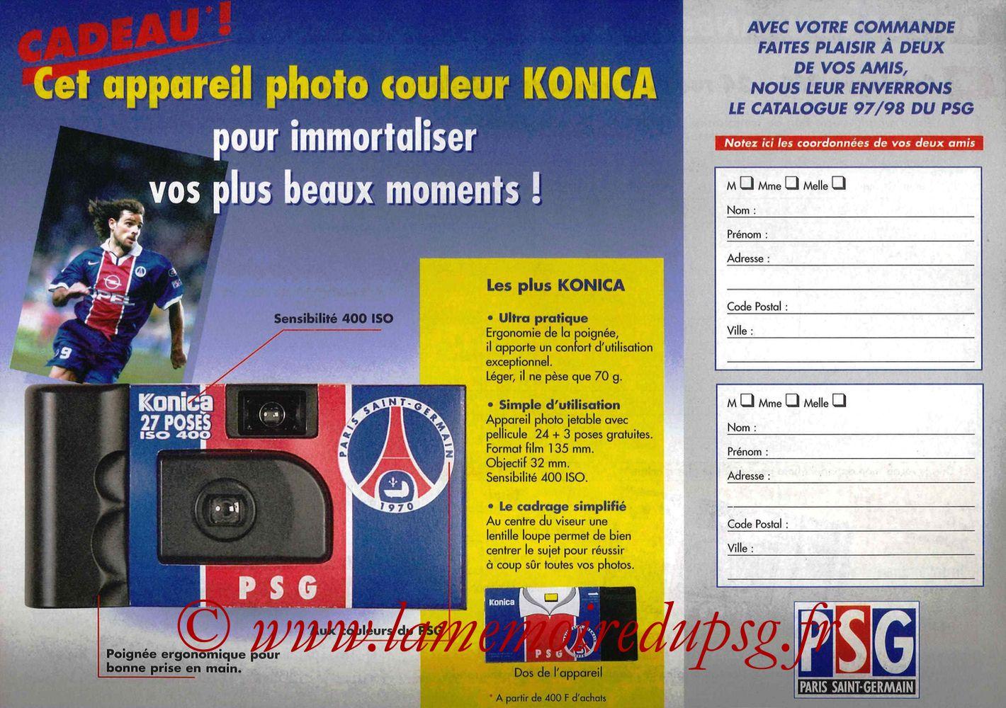 Catalogue PSG - 1997-98 - Bon de commande 1