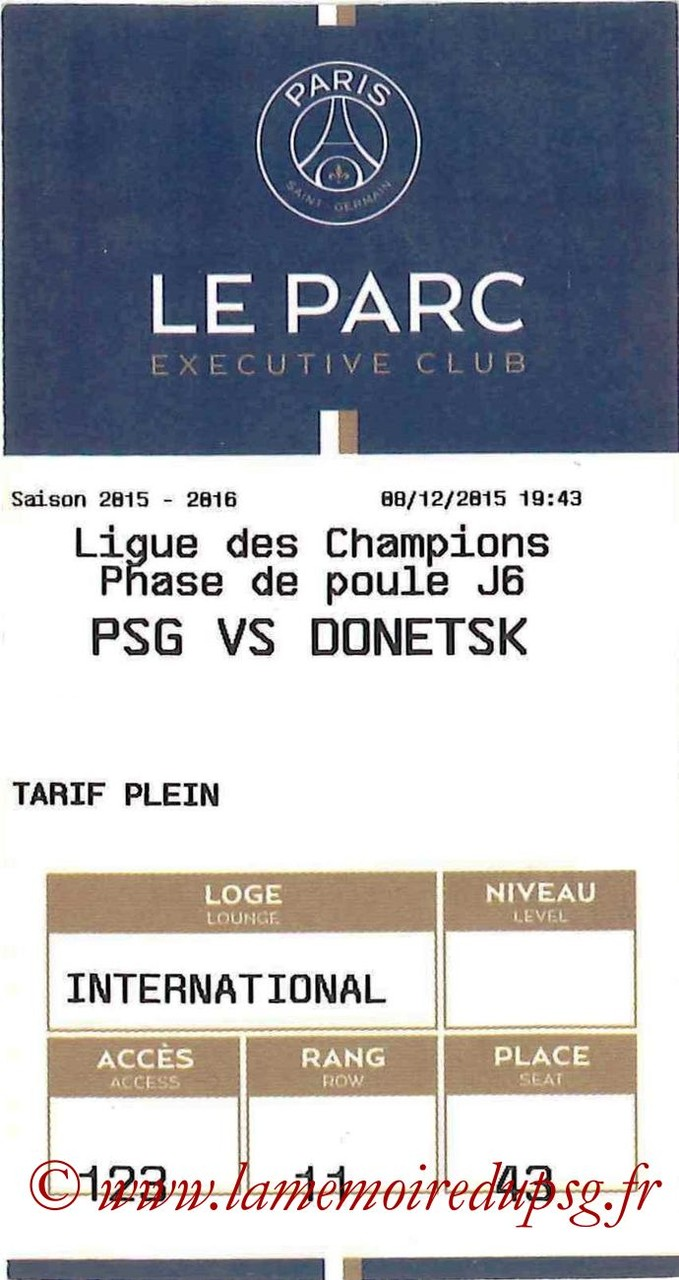 2015-12-08  PSG-Shakhtar Donetsk (6ème C1, E-ticket Executive Club)