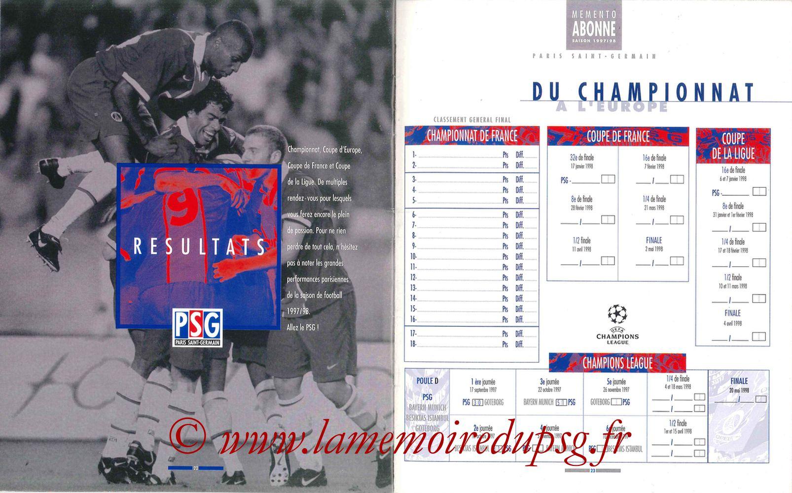 1997-98 - Guide de la Saison PSG - Pages 22 et 23